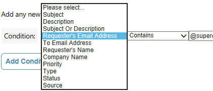 Screenshot of EvantoDesk Dispatch rules functionality step 1